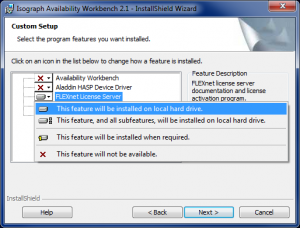 The custom installation options for Availability Workbench 2.1. If using on a license server, you MUST choose to install the FlexNet License Server component to the local hard drive.
